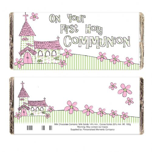 Pink On Your Communion Church Chocolate Bar